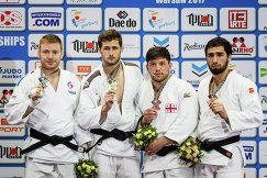 Француз Аксель Клерге, серб Александр Куколь, грузин Бека Гвиниашвили и россиянин Хусейн Халмурзаев (слева направо)