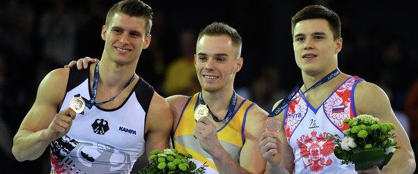 Немец Лукас Даузер, украинец Олег Верняев и россиянин Никита Нагорный (слева направо)