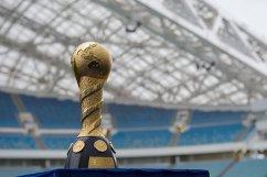 Трофей Кубка конфедераций на стадионе Фишт в Сочи