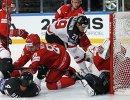Игровой момент матча чемпионата мира-2017 по хоккею между сборными Белоруссии и Канады