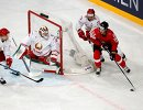 Игровой момент матча Белоруссия - Швейцария