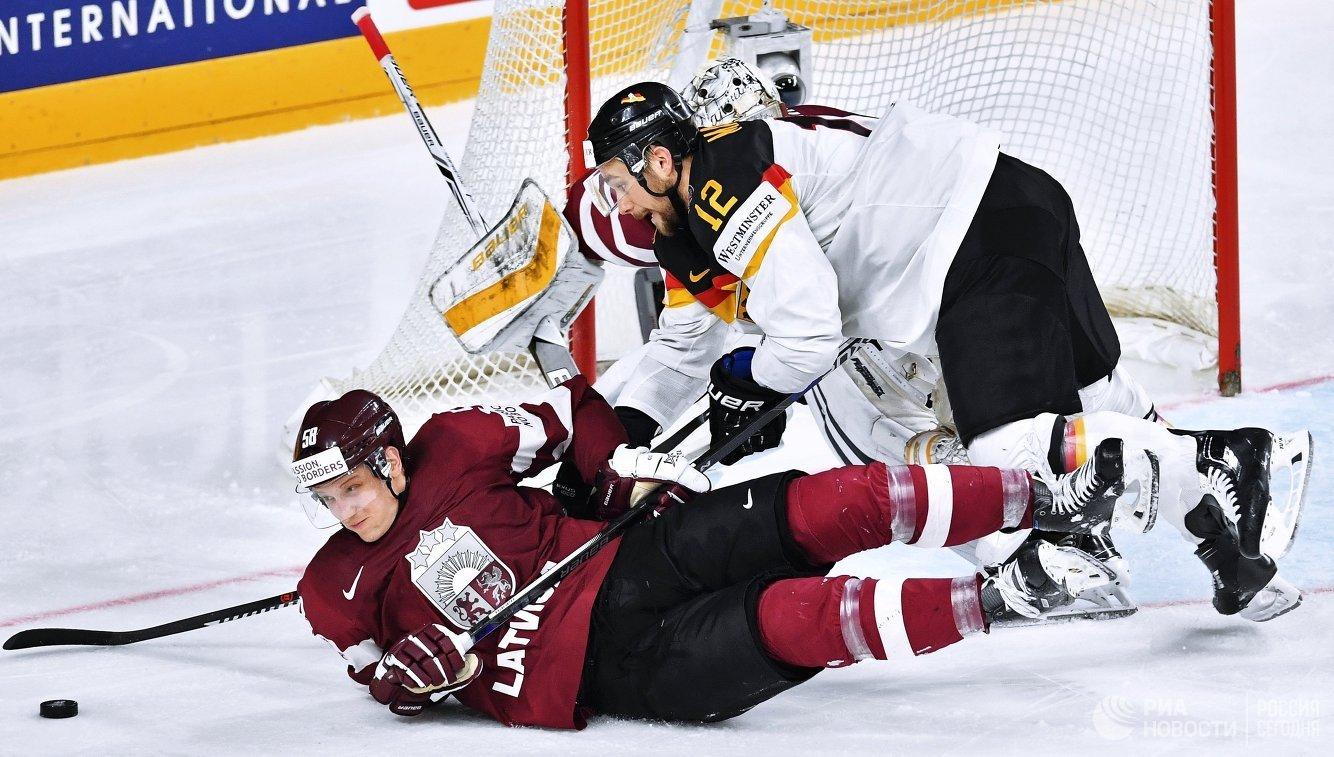 Игровой момент матча Германия – Латвия