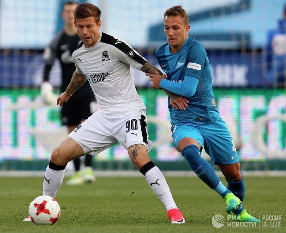 Игровой момент матча Зенит - Краснодар