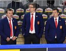 Главный тренер сборной России Олег Знарок, тренеры Харийс Витолиньш и Илья Воробьев (слева направо)