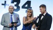 Защитник ХК СКА Антон Белов, продюсер Иосиф Пригожин и певица Валерия (справа налево)