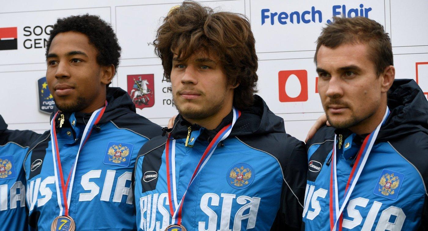 Игроки сборной России по регби-7 Кевин Акуабу, Герман Давыдов, Владимир Остроушко (слева направо)