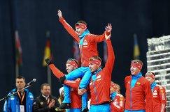 Российские спортсмены Дмитрий Малышко, Евгений Устюгов, Антон Шипулин и Алексей Волков (слева направо)