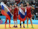 Игроки сборной России по баскетболу 3х3 Анна Лешковцева, Татьяна Видмер, Татьяна Петрушина и Мария Черепанова (слева направо)