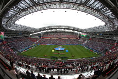Болельщики сборных Мексики и Португалии на стадионе Казань Арена перед началом матча Кубка конфедераций-2017
