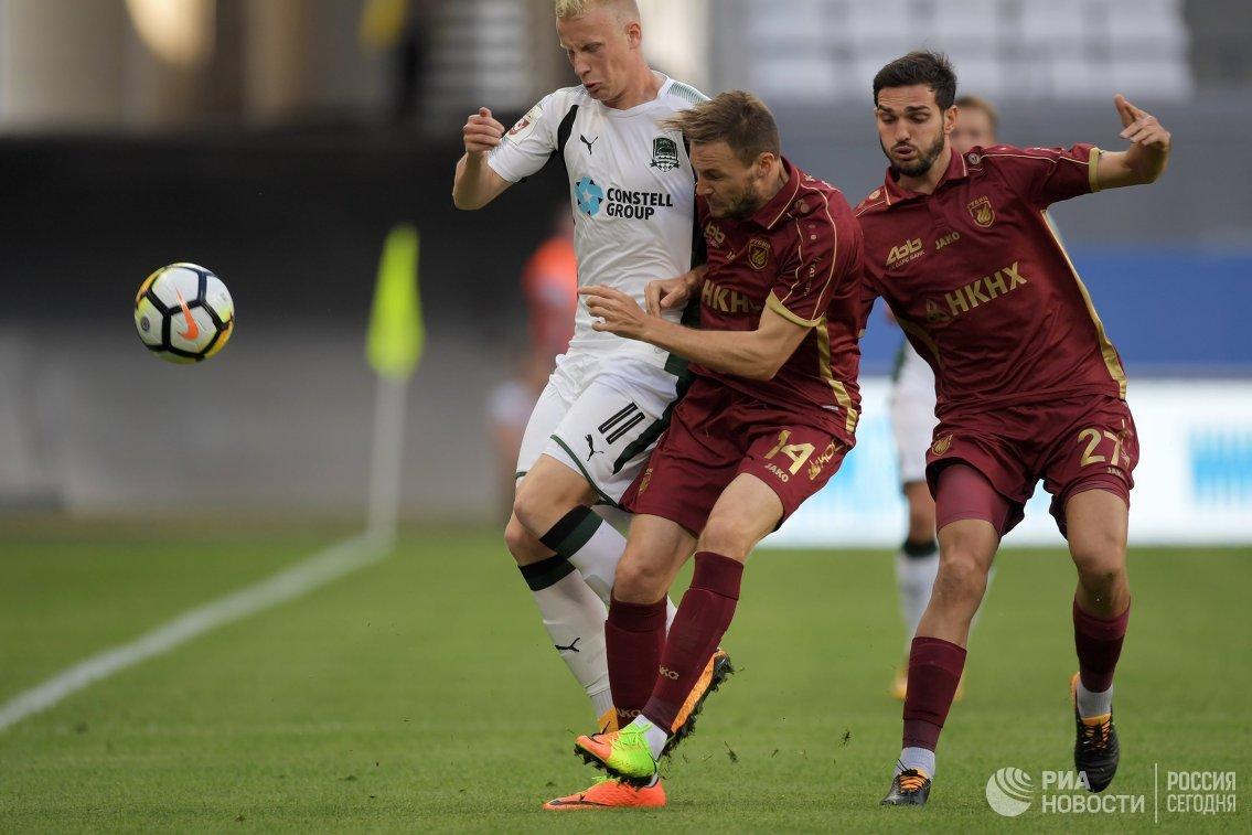 Игровой момент матча Рубин - Краснодар