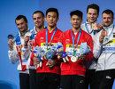 Александр Бондарь и Виктор Минибаев, Ян Хао и Чэнь Айсэнь, Патрик Хаусдинг и Саша Кляйн (слева направо)
