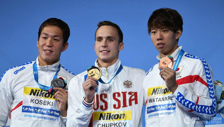 Ясухиро Косэки, Антон Чупков, Иппэй Ватанабэ (слева направо)