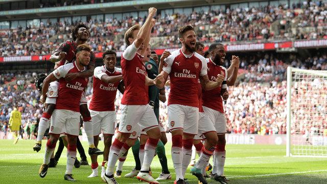 Футболисты Арсенала радуются победе в Суперкубке Англии