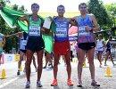 Бразильский легкоатлет Кайо Бофим, колумбиец Эйдер Аревало и россиянин Сергей Широбоков (слева направо)