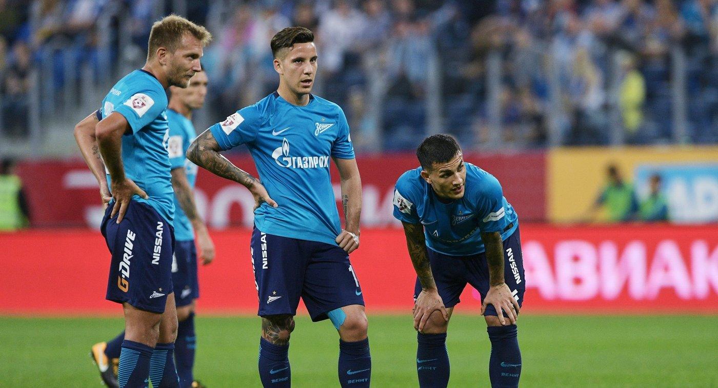 Игроки ФК Зенит Доменико Кришито, Себастьян Дриусси и Леандро Паредес (слева направо)