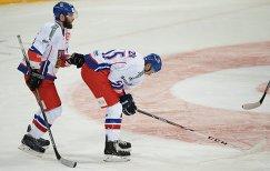 Хоккеисты сборной Чехии Адам Полашек (слева) и Войтех Мозик