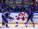 Игровой момент матча Олимпийская сборная России - ХК СКА