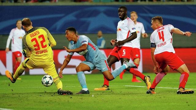 Игровой момент матча РБ Лейпциг - Монако