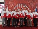 Хоккеисты сборной Канады на церемонии чествования хоккеистов, участвовавших в Суперсерии СССР — Канада 1972 года
