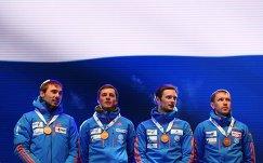 Биатлонисты сборной России Антон Шипулин, Антон Бабиков, Максим Цветков и Алексей Волков (слева направо)