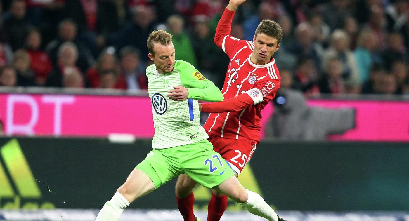 Игровой момент матча Вольфсбург- Бавариея