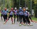 Биатлонистки на дистанции эстафеты на чемпионате России по летнему биатлону
