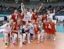 Волейболистки сборной России радуются победе над командой Болгарии после матче группового этапа чемпионата Европы