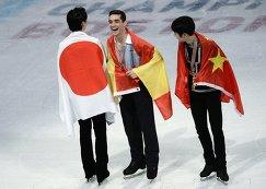 Юдзуру Ханю (Япония) - серебряная медаль, Хавьер Фернандес (Испания) - золотая медаль, Цзинь Боян (КНР) - бронзовая медаль (слева направо)