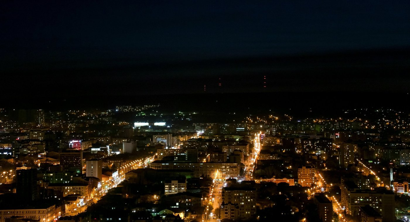 Вид на вечерний город Саратов