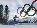 Евгений Белов (Россия) на дистанции индивидуальной гонки в соревнованиях по лыжным гонкам среди мужчин на XXII зимних Олимпийских играх в Сочи.