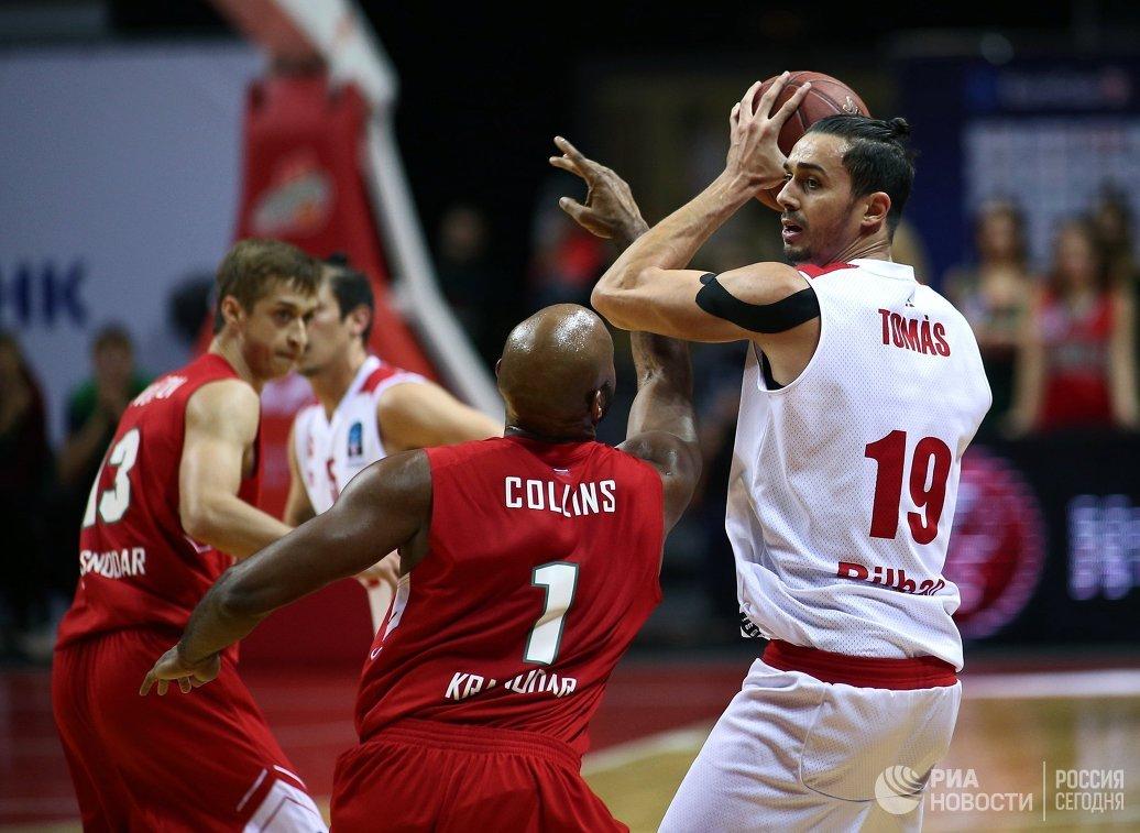 «Локомотив-Кубань» разгромил испанских баскетболистов из«Бильбао» вматче Кубка Европы