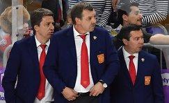 Тренеры сборной России Харийс Витолиньш, Олег Знарок и Илья Воробьев (слева направо)