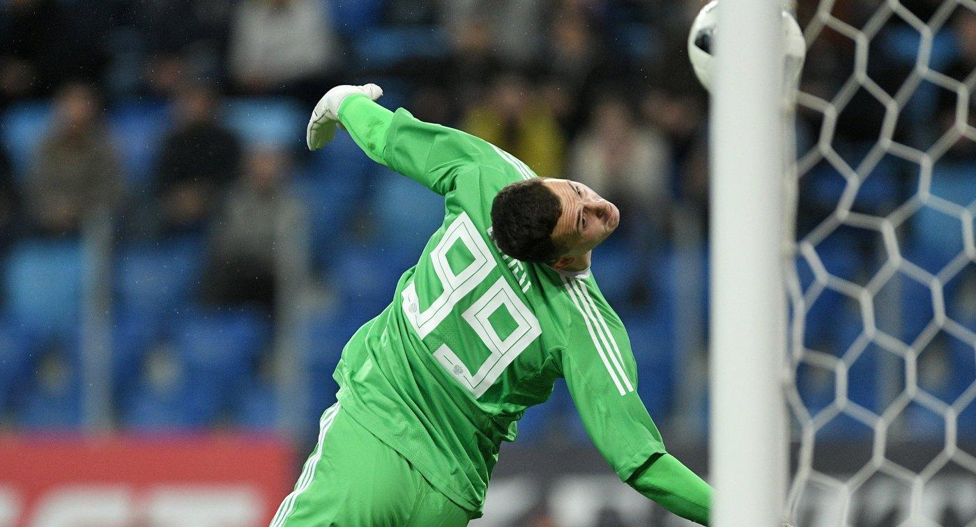 Вратарь сборной России Андрей Лунёв