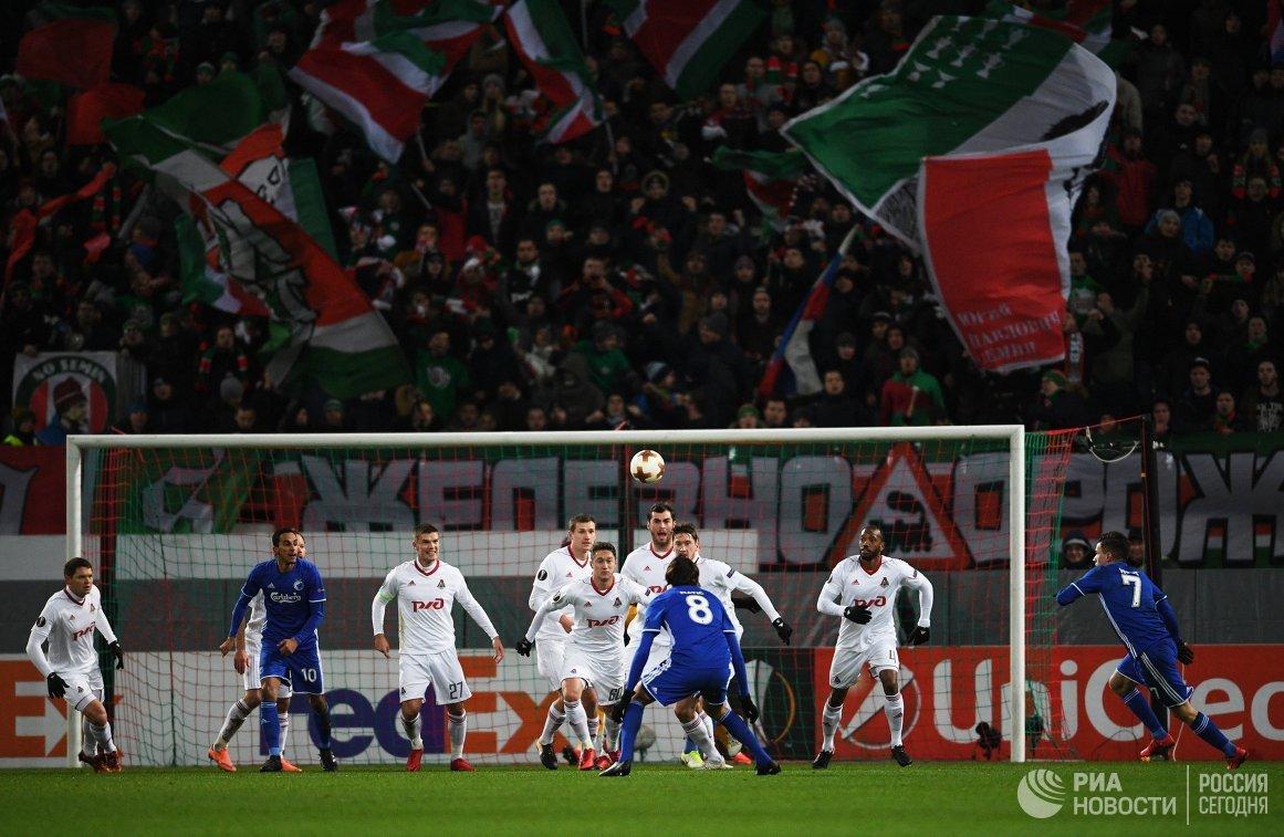 Игровой момент матча Локомотив - Копенгаген