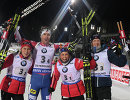 Норвежцы Тириль Экхофф, Эмиль Хегле Свендсен, Ингрид Ландмарк Тандреволд и Йоханнес Бё (слева направо)