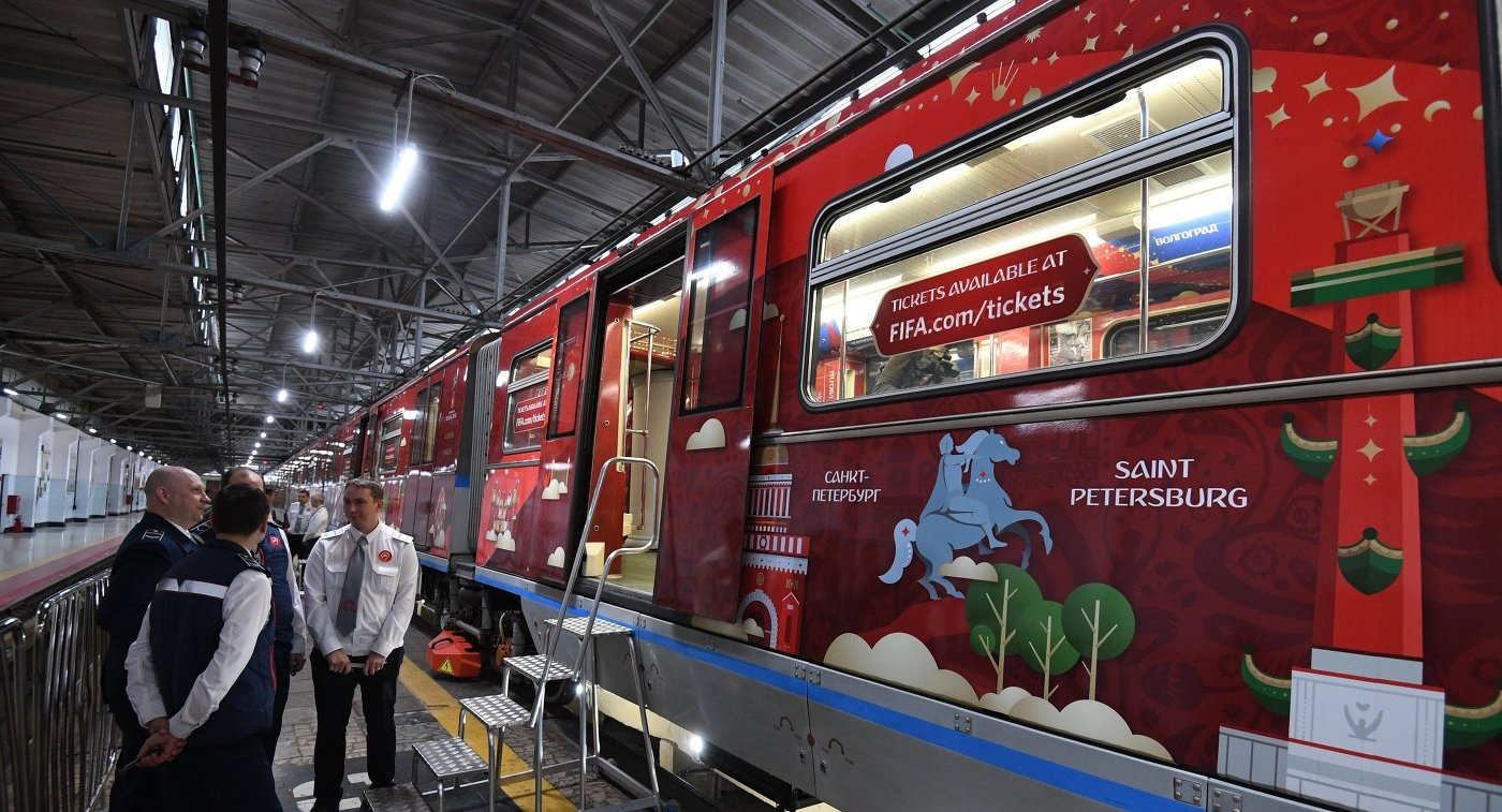 Вметро столицы появился поезд, посвященныйЧМ