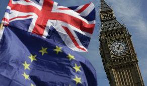 Флаг Великобритании и часы Биг-Бен, Лондон