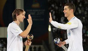 Полузащитник мадридского Реала Лука Модрич и нападающий Криштиану Роналду (слева направо)