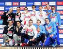Пловцы сборной Италии, пловцы сборной России и пловцы сборной Белоруссии (слева направо)