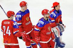 Хоккеисты молодежной сборной России Клим Костин, Анатолий Елизаров, Егор Зайцев и Алексей Мельничук (слева направо)