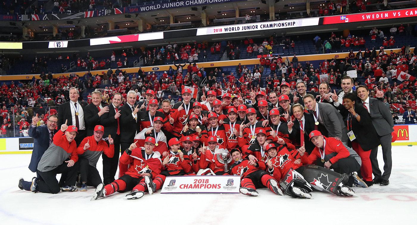 Хоккеисты молодежной сборной Канады - победители чемпионата мира