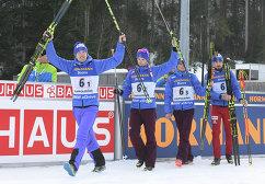 Биатлонисты сборной России Алексей Волков, Максим Цветков, Антон Бабиков и Антон Шипулин (слева направо)