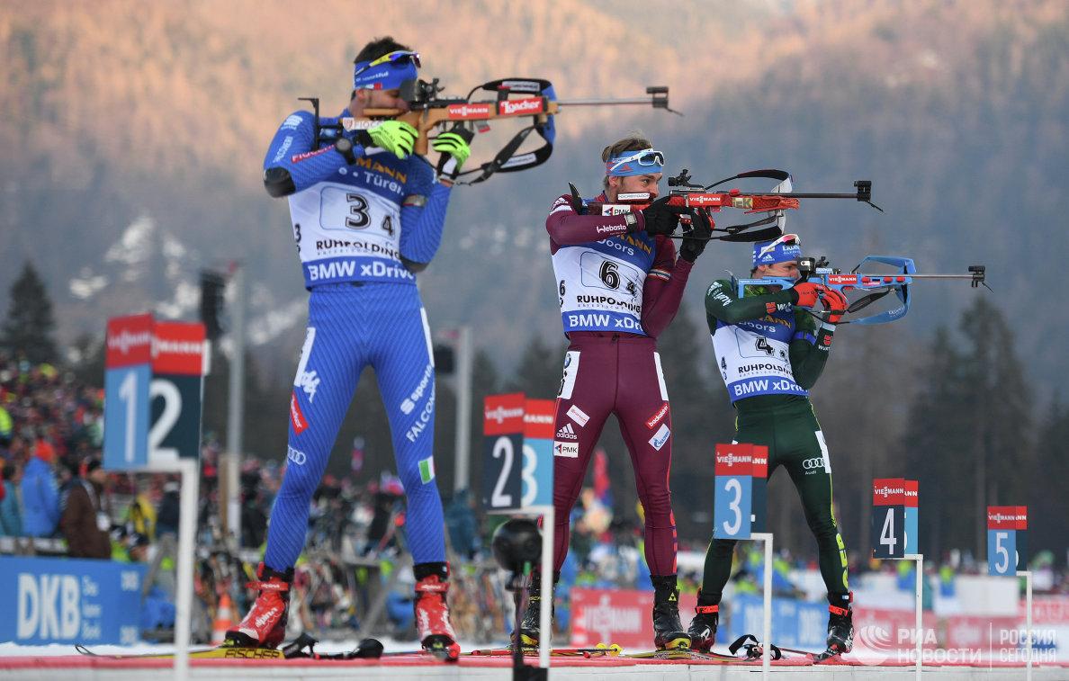Тьерри Шеналь, Антон Шипулин и Симон Шемпп (слева направо)