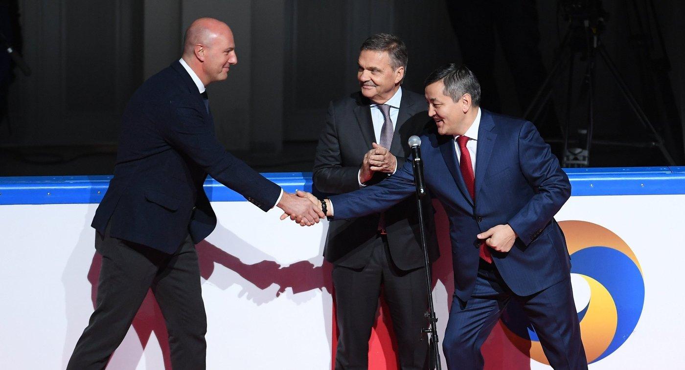 Дмитрий Чернышенко, Рене Фазель (слева направо)