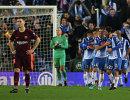 Футболисты Эспаньола радуются забитому мячу Оскара Мелендо