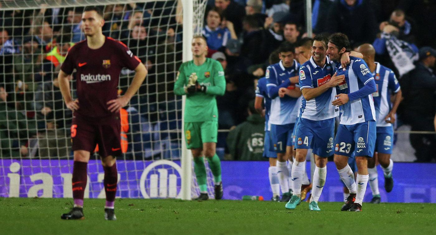 «Эспаньол» одержал победу над «Барселоной» впервом четвертьфинальном матче Кубка Короля