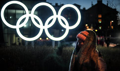 Олимпийские кольца у здания главного пресс-центра в Олимпийском парке в Пхенчхане