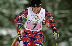 Победительница в эстафетной гонке 4х5 км лыжница Елена Вяльбе