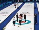Игровой момент матча сборных России и Норвегии по керлингу на Олимпийских играх-2018