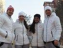 Биатлонисты сборной России Матвей Елисеев, Татьяна Акимова, Ульяна Кайшева, Антон Бабиков (слева направо) в олимпийской деревне